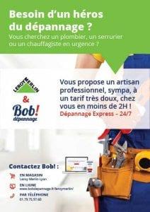 Bob! dépannage -Flyer partenariat Leroy Merlin - septembre octobre 2017